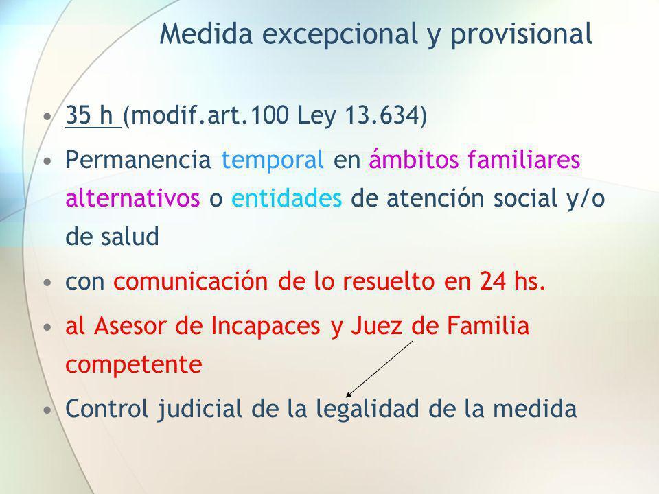 Medida excepcional y provisional 35 h (modif.art.100 Ley 13.634) Permanencia temporal en ámbitos familiares alternativos o entidades de atención socia