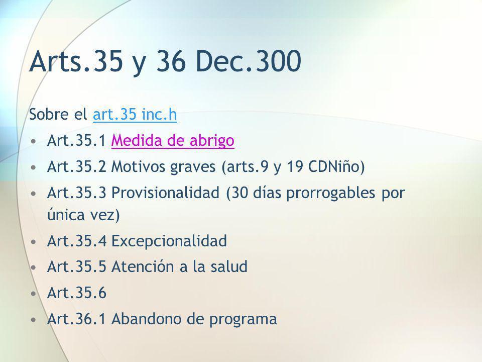 Arts.35 y 36 Dec.300 Sobre el art.35 inc.h Art.35.1 Medida de abrigo Art.35.2 Motivos graves (arts.9 y 19 CDNiño) Art.35.3 Provisionalidad (30 días pr