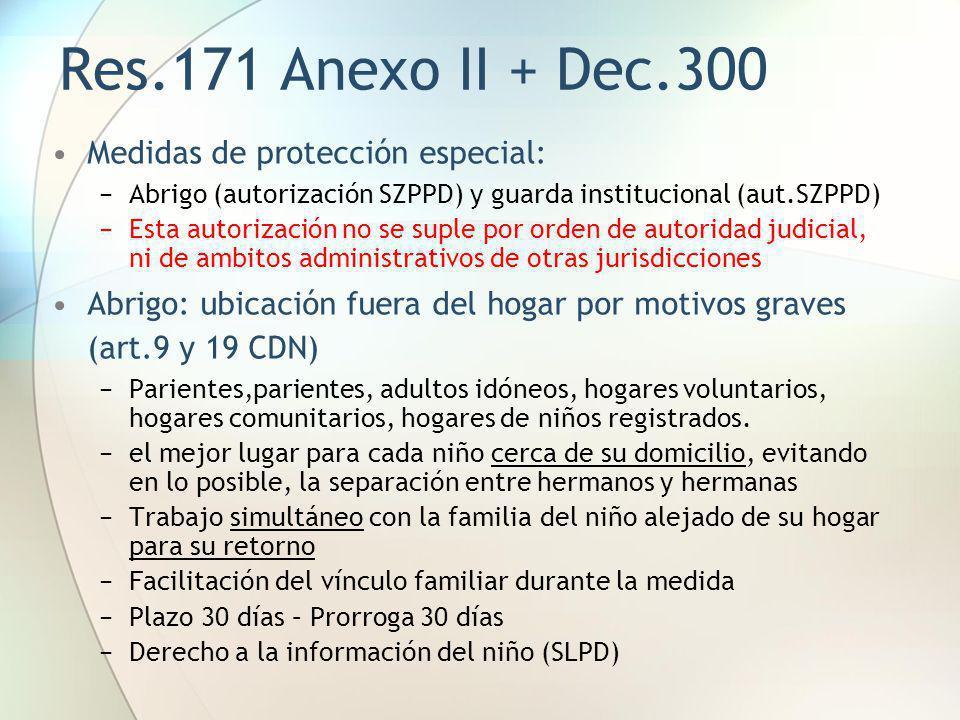 Res.171 Anexo II + Dec.300 Medidas de protección especial: Abrigo (autorización SZPPD) y guarda institucional (aut.SZPPD) Esta autorización no se supl