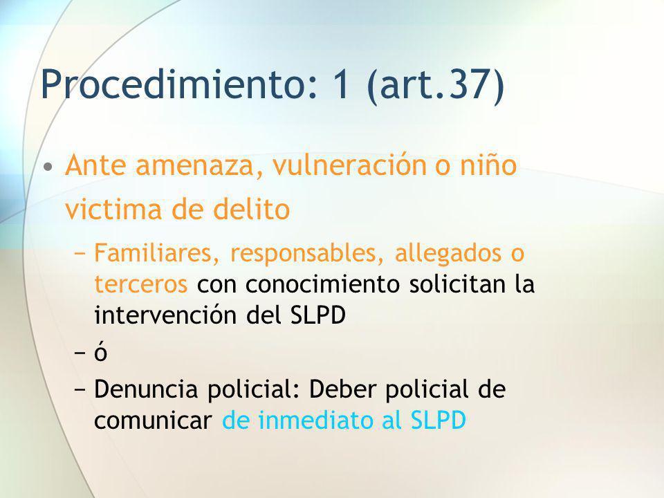 Procedimiento: 1 (art.37) Ante amenaza, vulneración o niño victima de delito Familiares, responsables, allegados o terceros con conocimiento solicitan