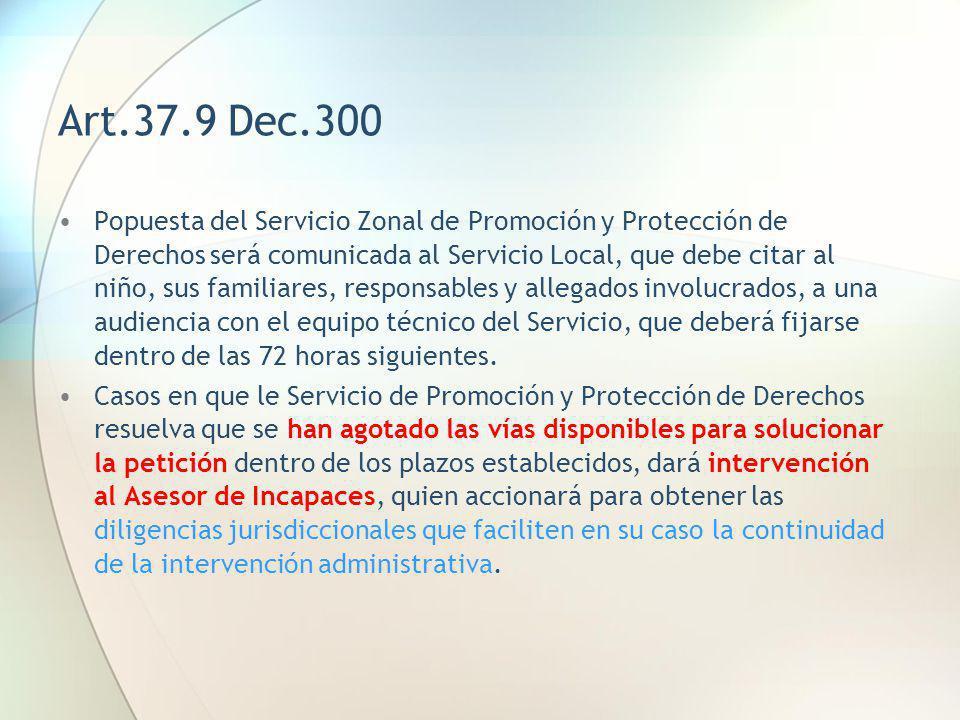Art.37.9 Dec.300 Popuesta del Servicio Zonal de Promoción y Protección de Derechos será comunicada al Servicio Local, que debe citar al niño, sus fami