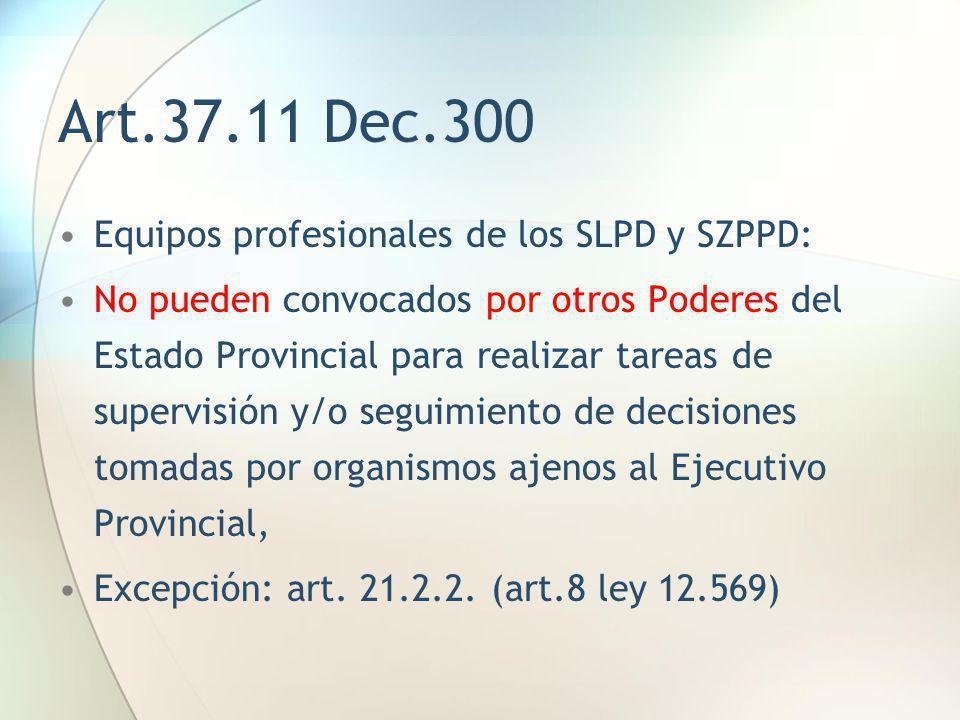 Art.37.11 Dec.300 Equipos profesionales de los SLPD y SZPPD: No pueden convocados por otros Poderes del Estado Provincial para realizar tareas de supe