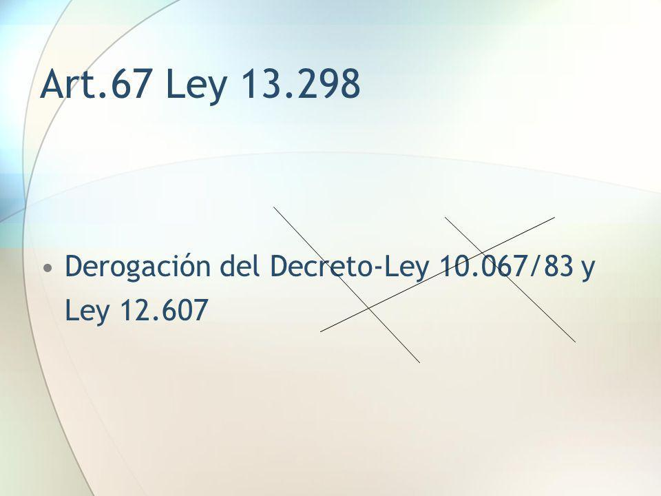 Art.67 Ley 13.298 Derogación del Decreto-Ley 10.067/83 y Ley 12.607