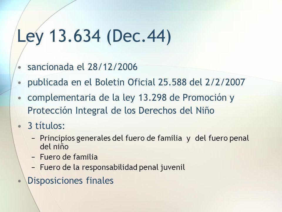 Ley 13.634 (Dec.44) sancionada el 28/12/2006 publicada en el Boletin Oficial 25.588 del 2/2/2007 complementaria de la ley 13.298 de Promoción y Protec