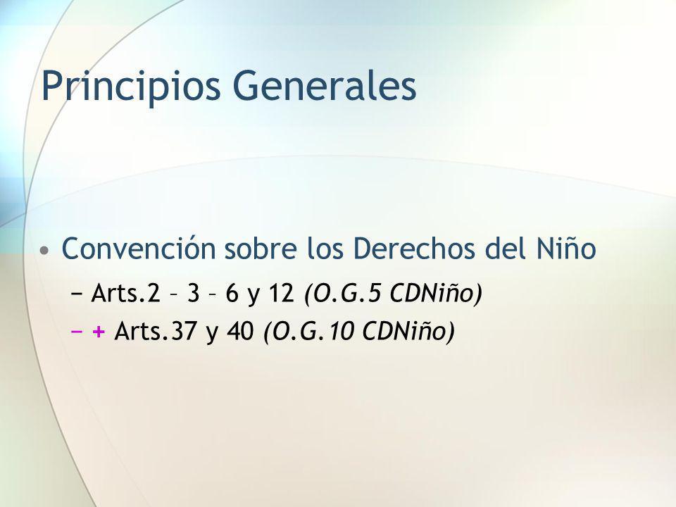 Convención sobre los Derechos del Niño Arts.2 – 3 – 6 y 12 (O.G.5 CDNiño) + Arts.37 y 40 (O.G.10 CDNiño)