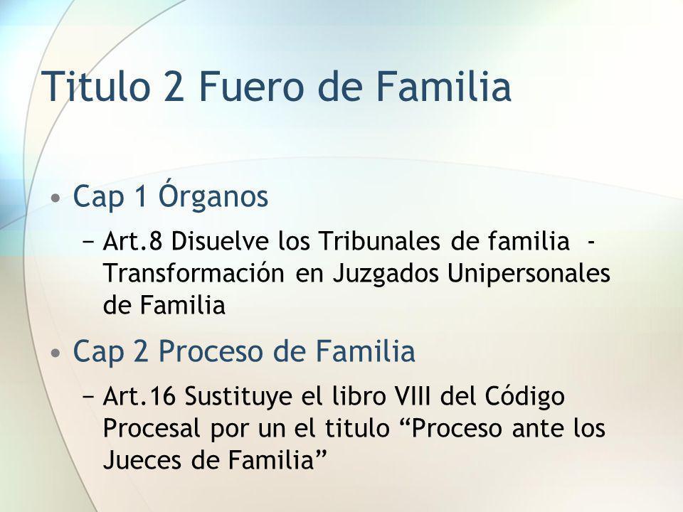 Titulo 2 Fuero de Familia Cap 1 Órganos Art.8 Disuelve los Tribunales de familia - Transformación en Juzgados Unipersonales de Familia Cap 2 Proceso d
