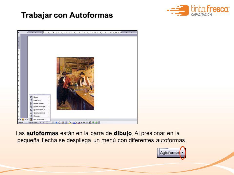 Trabajar con Autoformas autoformas dibujo. Las autoformas están en la barra de dibujo. Al presionar en la pequeña flecha se despliega un menú con dife