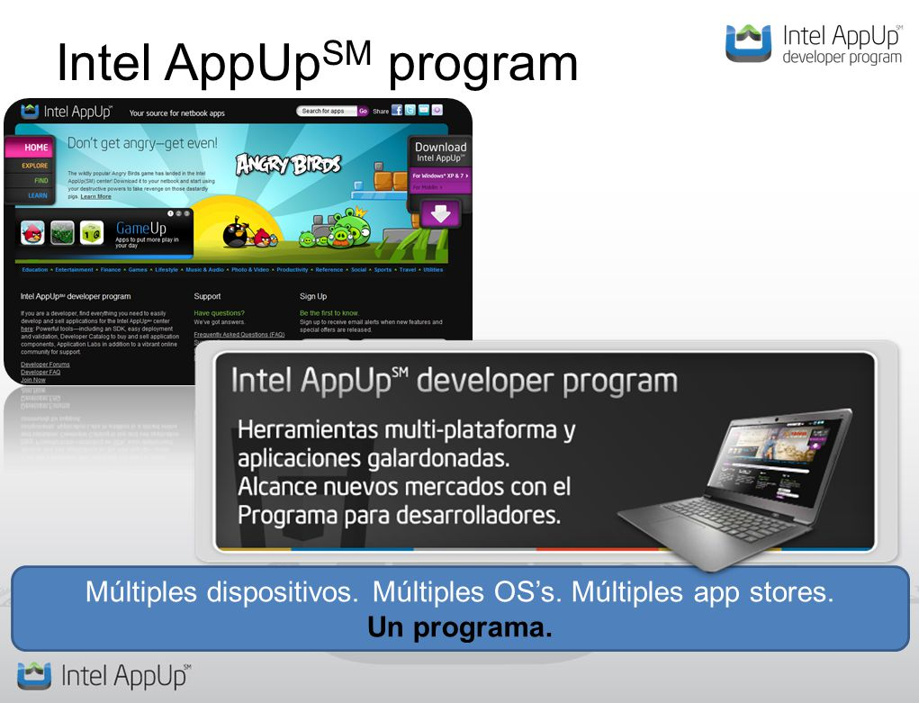 Intel AppUp SM program Múltiples dispositivos. Múltiples OSs. Múltiples app stores. Un programa.