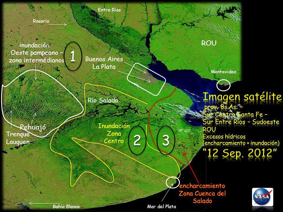 inundación Oeste pampeano – zona intermédianos Pehuajó Trenque Lauquen Inundación Zona Centro Montevideo Buenos Aires La Plata Bahía BlancaMar del Pla