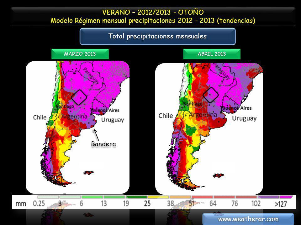VERANO – 2012/2013 - OTOÑO Modelo Régimen mensual precipitaciones 2012 - 2013 (tendencias) VERANO – 2012/2013 - OTOÑO Modelo Régimen mensual precipita