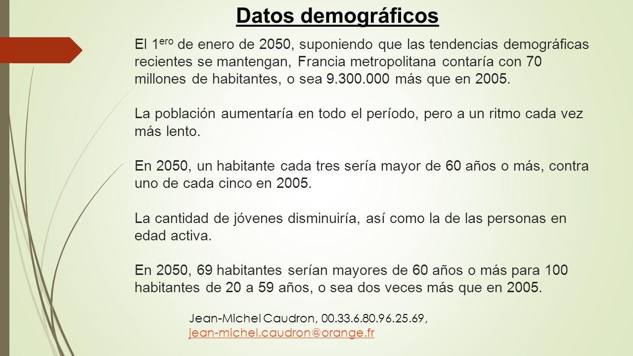 El 1 ero de enero de 2050, suponiendo que las tendencias demográficas recientes se mantengan, Francia metropolitana contaría con 70 millones de habita