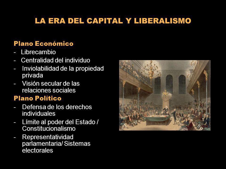 LA ERA DEL CAPITAL Y LIBERALISMO Plano Económico - Librecambio - Centralidad del individuo -Inviolabilidad de la propiedad privada -Visión secular de