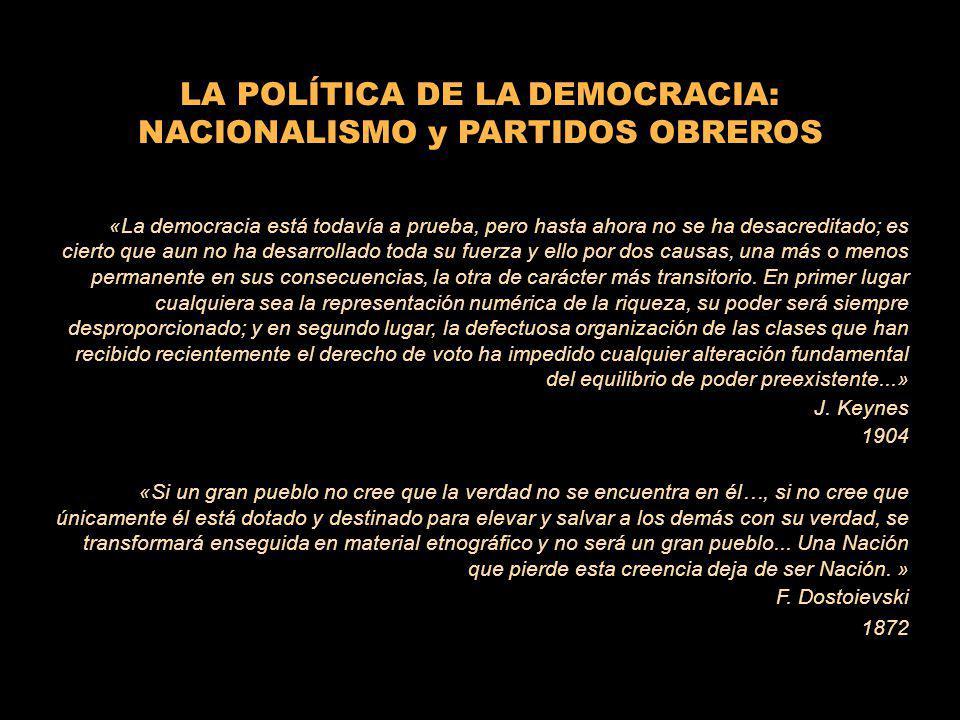 LA POLÍTICA DE LA DEMOCRACIA: NACIONALISMO y PARTIDOS OBREROS «La democracia está todavía a prueba, pero hasta ahora no se ha desacreditado; es cierto