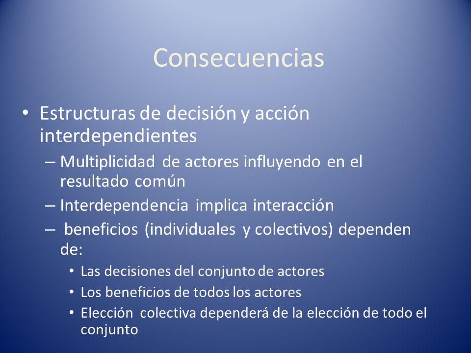 Consecuencias Estructuras de decisión y acción interdependientes – Multiplicidad de actores influyendo en el resultado común – Interdependencia implic