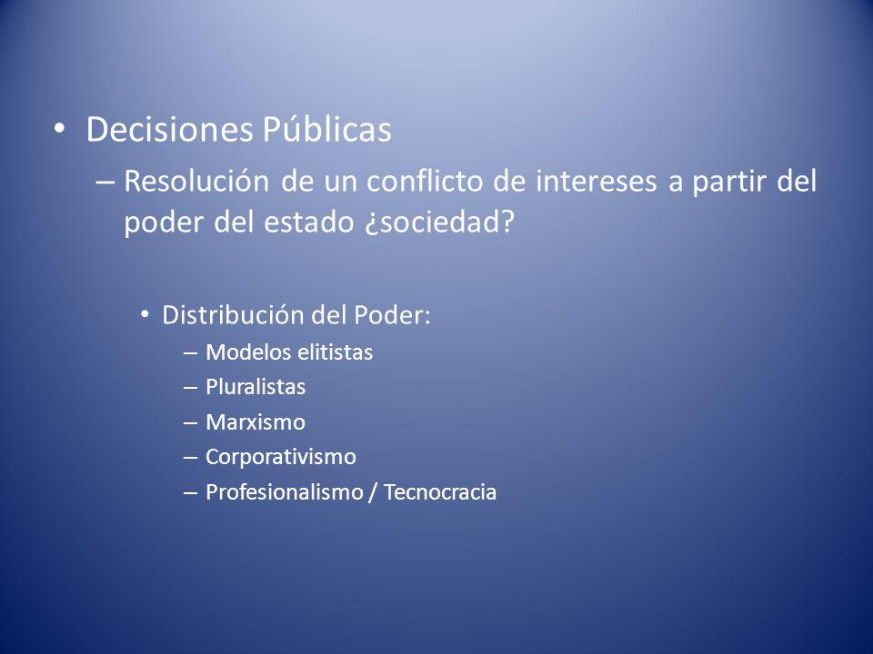 Decisiones Públicas – Resolución de un conflicto de intereses a partir del poder del estado ¿sociedad? Distribución del Poder: – Modelos elitistas – P