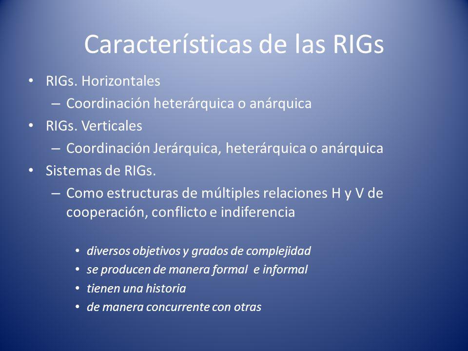 Características de las RIGs RIGs. Horizontales – Coordinación heterárquica o anárquica RIGs. Verticales – Coordinación Jerárquica, heterárquica o anár