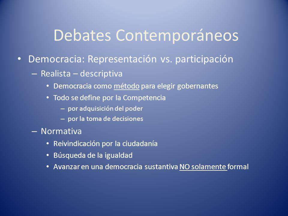 Debates Contemporáneos Democracia: Representación vs. participación – Realista – descriptiva Democracia como método para elegir gobernantes Todo se de