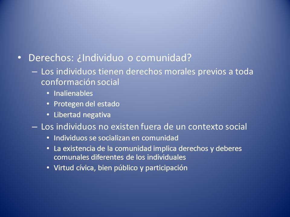 Derechos: ¿Individuo o comunidad? – Los individuos tienen derechos morales previos a toda conformación social Inalienables Protegen del estado Liberta