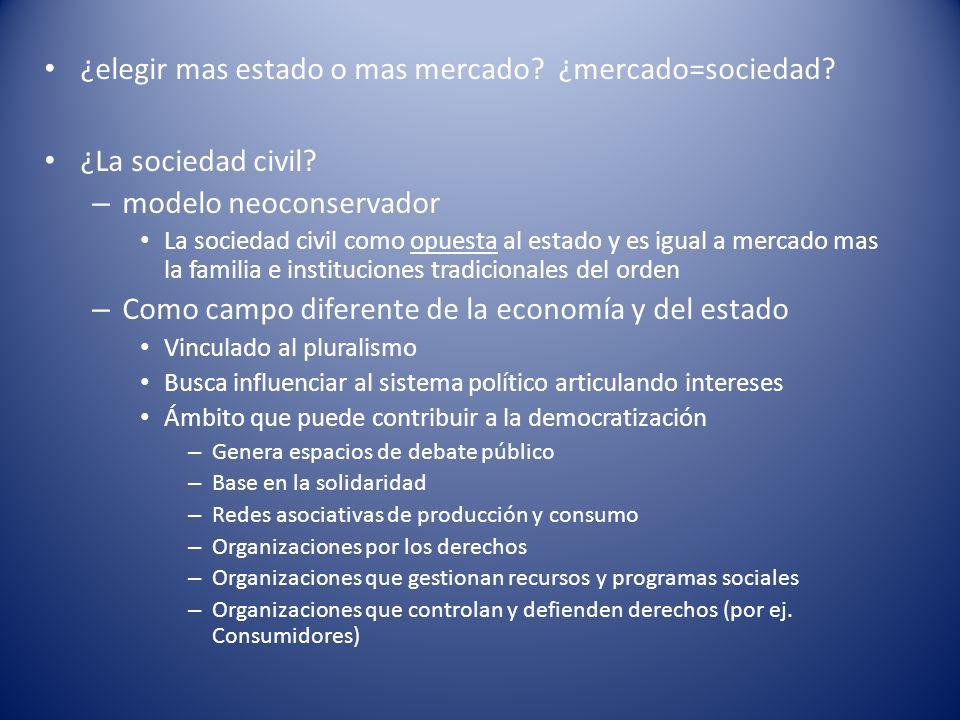 ¿elegir mas estado o mas mercado? ¿mercado=sociedad? ¿La sociedad civil? – modelo neoconservador La sociedad civil como opuesta al estado y es igual a