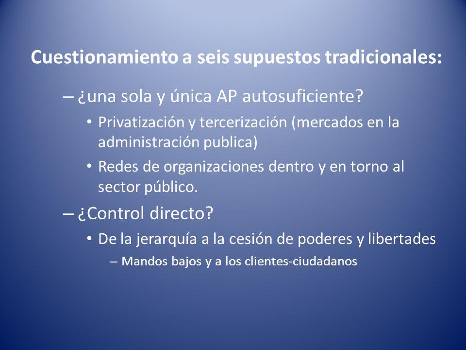 Cuestionamiento a seis supuestos tradicionales: – ¿una sola y única AP autosuficiente? Privatización y tercerización (mercados en la administración pu