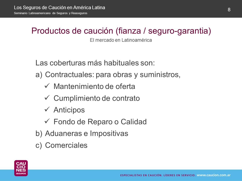 Productos de caución (fianza / seguro-garantia) El mercado en Latinoamérica 8 Las coberturas más habituales son: a)Contractuales: para obras y suminis