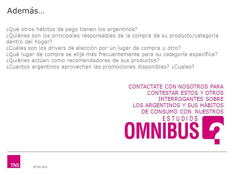 ©TNS 2012 ¿Qué otros hábitos de pago tienen los argentinos.