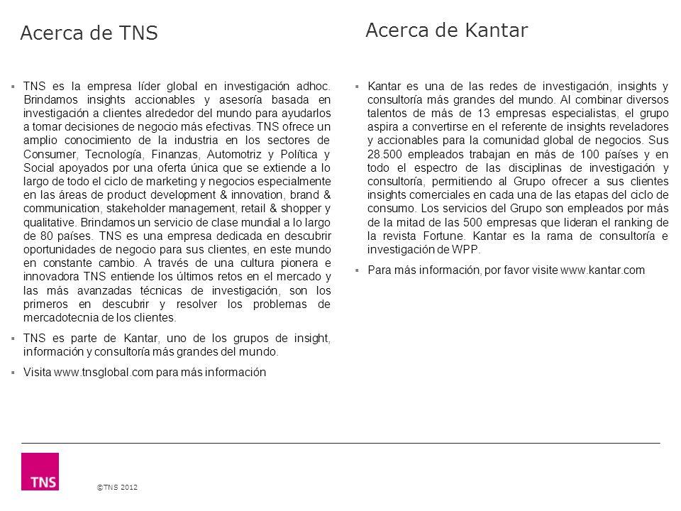©TNS 2012 Acerca de TNS TNS es la empresa líder global en investigación adhoc.
