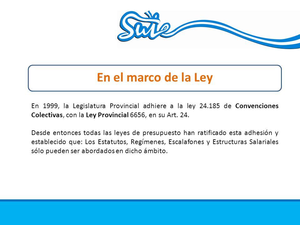 En el marco de la Ley En 1999, la Legislatura Provincial adhiere a la ley 24.185 de Convenciones Colectivas, con la Ley Provincial 6656, en su Art.