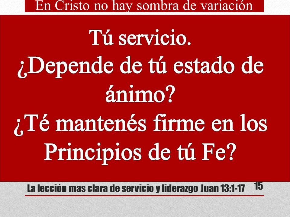 La lección mas clara de servicio y liderazgo Juan 13:1-17 ¿Cuál cree Ud. es la causa de que ninguno de los discípulo se presentó voluntariamente para