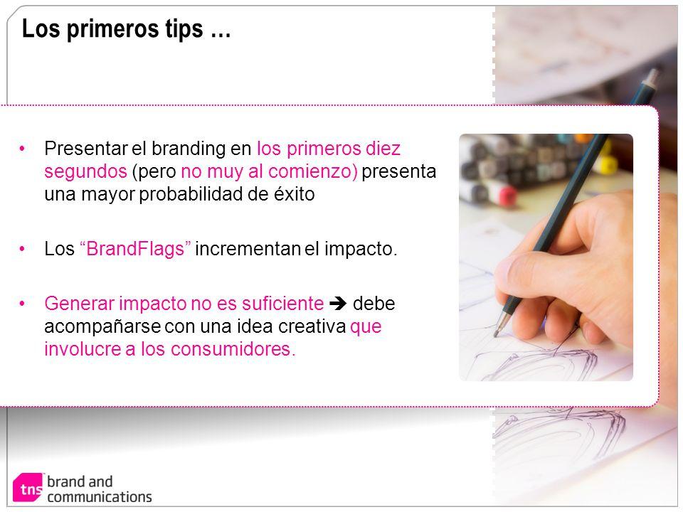 Los primeros tips … Presentar el branding en los primeros diez segundos (pero no muy al comienzo) presenta una mayor probabilidad de éxito Los BrandFl