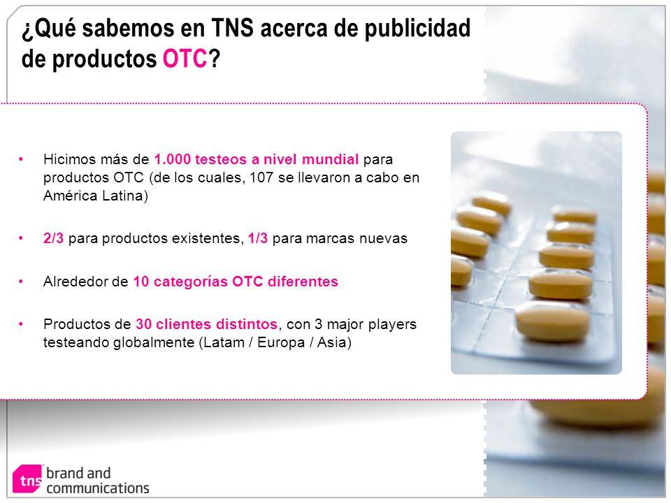 ¿Qué sabemos en TNS acerca de publicidad de productos OTC? Hicimos más de 1.000 testeos a nivel mundial para productos OTC (de los cuales, 107 se llev