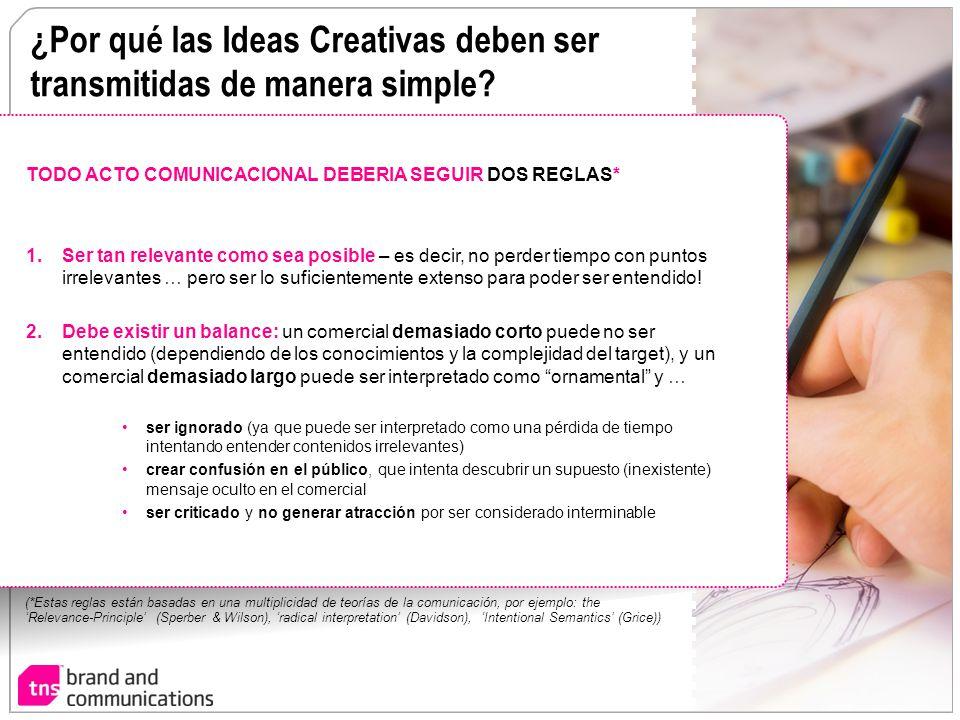 ¿Por qué las Ideas Creativas deben ser transmitidas de manera simple? TODO ACTO COMUNICACIONAL DEBERIA SEGUIR DOS REGLAS* 1.Ser tan relevante como sea
