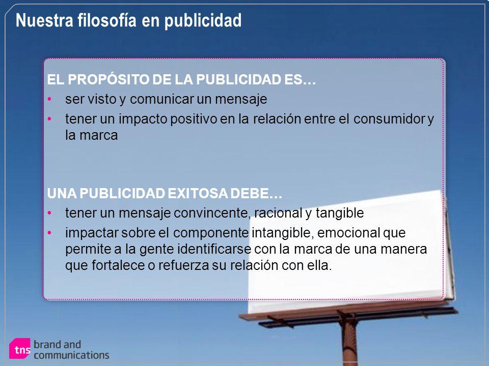 Nuestra filosofía en publicidad EL PROPÓSITO DE LA PUBLICIDAD ES… ser visto y comunicar un mensaje tener un impacto positivo en la relación entre el c