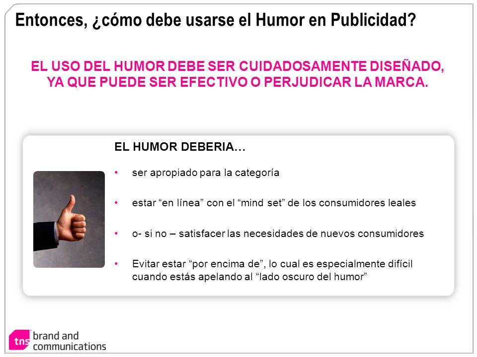 Entonces, ¿cómo debe usarse el Humor en Publicidad? EL USO DEL HUMOR DEBE SER CUIDADOSAMENTE DISEÑADO, YA QUE PUEDE SER EFECTIVO O PERJUDICAR LA MARCA