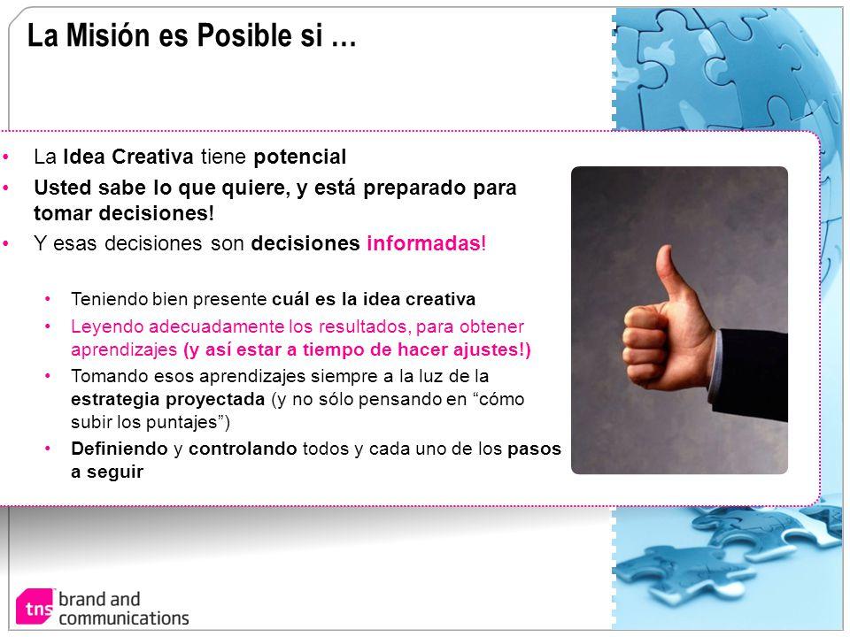 La Misión es Posible si … La Idea Creativa tiene potencial Usted sabe lo que quiere, y está preparado para tomar decisiones! Y esas decisiones son dec