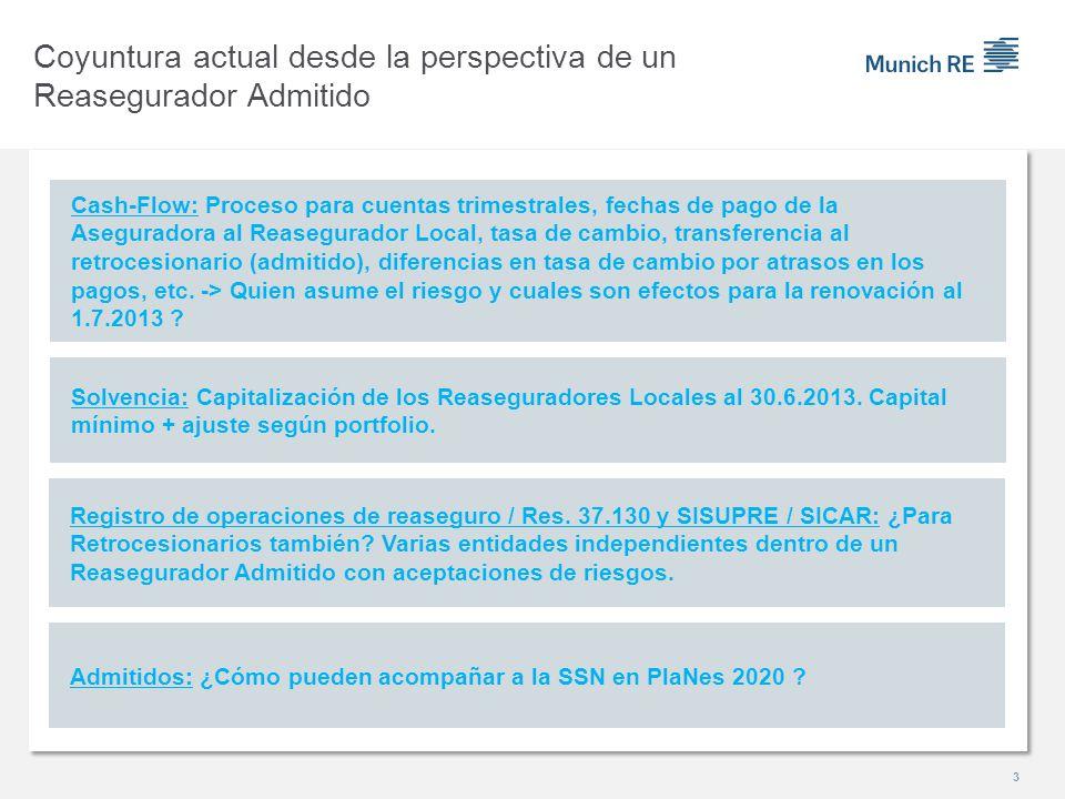 Solvencia: Capitalización de los Reaseguradores Locales al 30.6.2013. Capital mínimo + ajuste según portfolio. Cash-Flow: Proceso para cuentas trimest