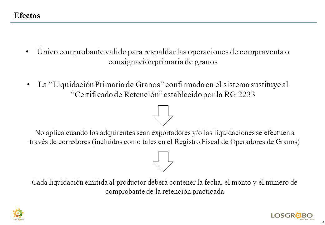 3 Efectos Único comprobante valido para respaldar las operaciones de compraventa o consignación primaria de granos La Liquidación Primaria de Granos c