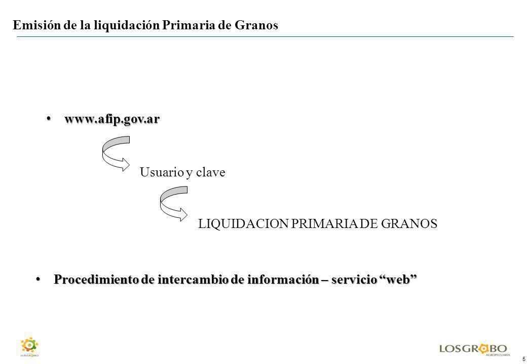 5 Emisión de la liquidación Primaria de Granos www.afip.gov.ar www.afip.gov.ar Usuario y clave LIQUIDACION PRIMARIA DE GRANOS Procedimiento de interca
