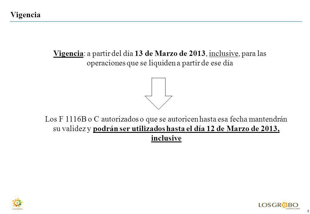 8 Vigencia Vigencia: a partir del día 13 de Marzo de 2013, inclusive, para las operaciones que se liquiden a partir de ese día Los F 1116B o C autoriz