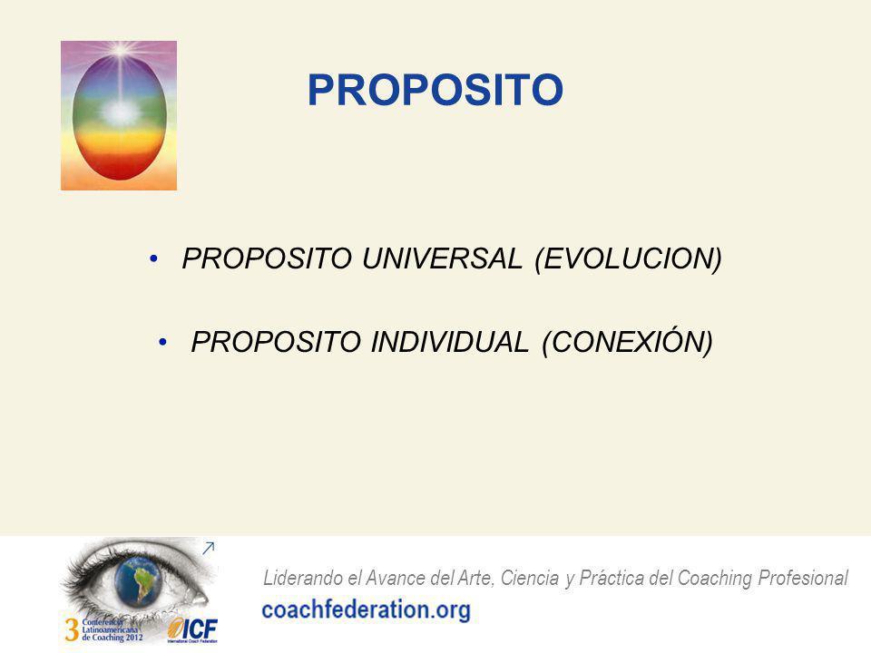 Liderando el Avance del Arte, Ciencia y Práctica del Coaching Profesional PROPOSITO PROPOSITO UNIVERSAL (EVOLUCION) PROPOSITO INDIVIDUAL (CONEXIÓN)
