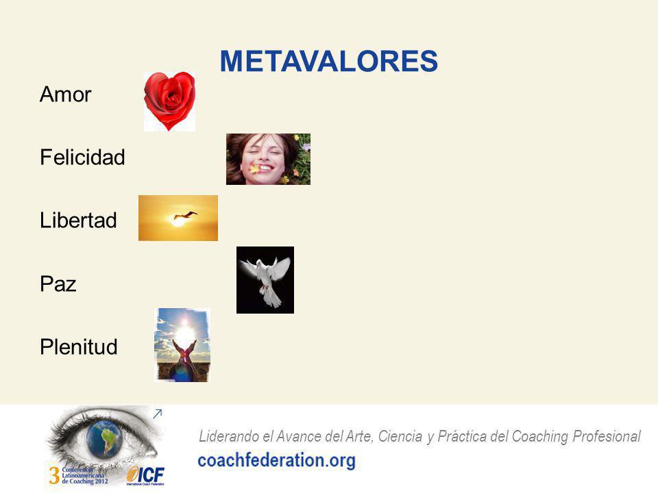 Liderando el Avance del Arte, Ciencia y Práctica del Coaching Profesional METAVALORES Amor Felicidad Libertad Paz Plenitud