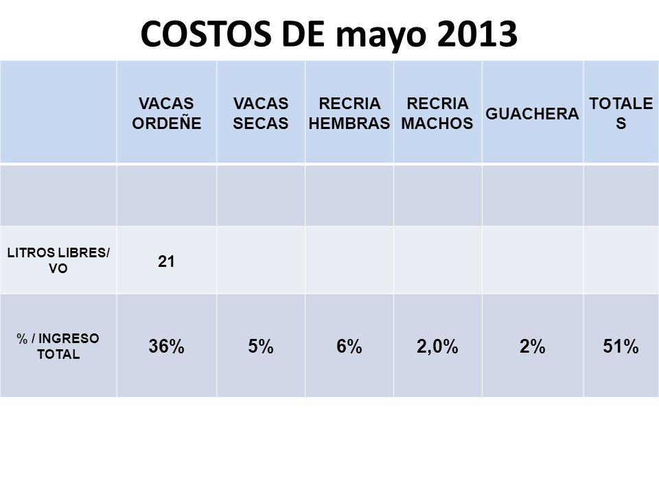 COSTOS DE mayo 2013 VACAS ORDEÑE VACAS SECAS RECRIA HEMBRAS RECRIA MACHOS GUACHERA TOTALE S LITROS LIBRES/ VO 21 % / INGRESO TOTAL 36%5%6%2,0%2%51%