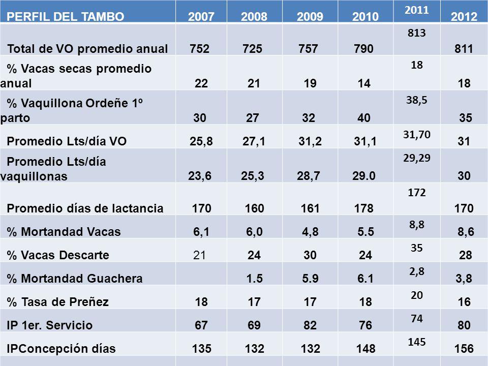PERFIL DEL TAMBO2007200820092010 2011 2012 Total de VO promedio anual752 725 757 790 813 811 % Vacas secas promedio anual22211914 18 % Vaquillona Orde