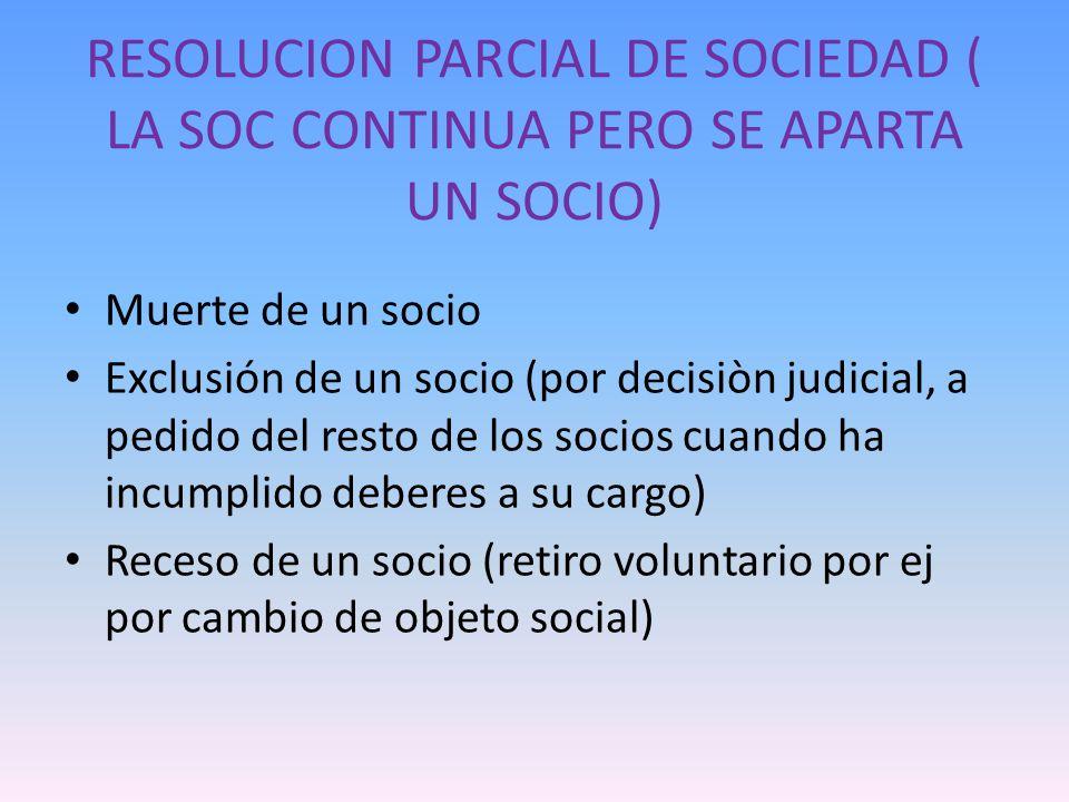 RESOLUCION PARCIAL DE SOCIEDAD ( LA SOC CONTINUA PERO SE APARTA UN SOCIO) Muerte de un socio Exclusión de un socio (por decisiòn judicial, a pedido de