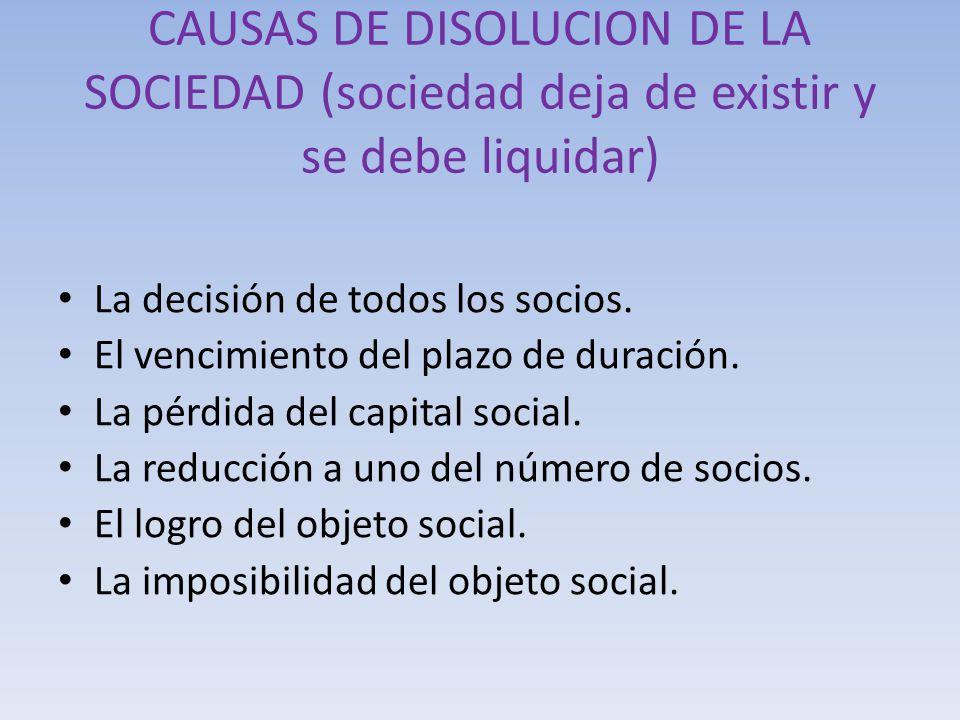 CAUSAS DE DISOLUCION DE LA SOCIEDAD (sociedad deja de existir y se debe liquidar) La decisión de todos los socios. El vencimiento del plazo de duració