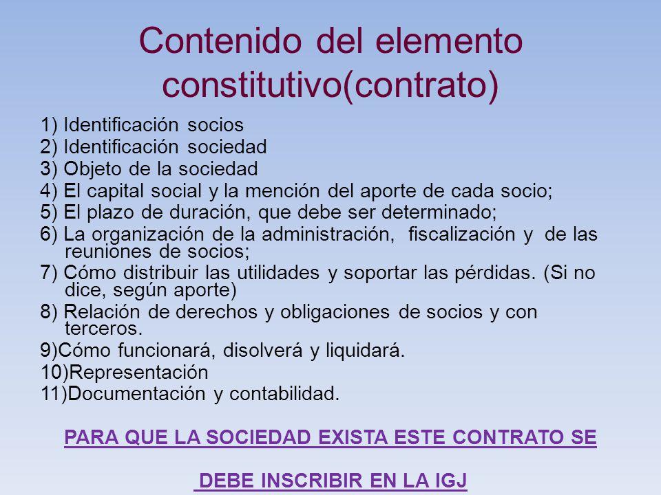 Contenido del elemento constitutivo(contrato) 1) Identificación socios 2) Identificación sociedad 3) Objeto de la sociedad 4) El capital social y la m