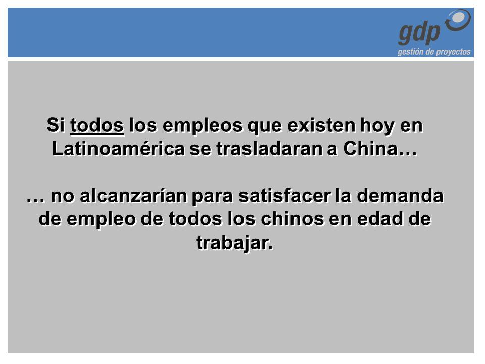Si todos los empleos que existen hoy en Latinoamérica se trasladaran a China… … no alcanzarían para satisfacer la demanda de empleo de todos los chino