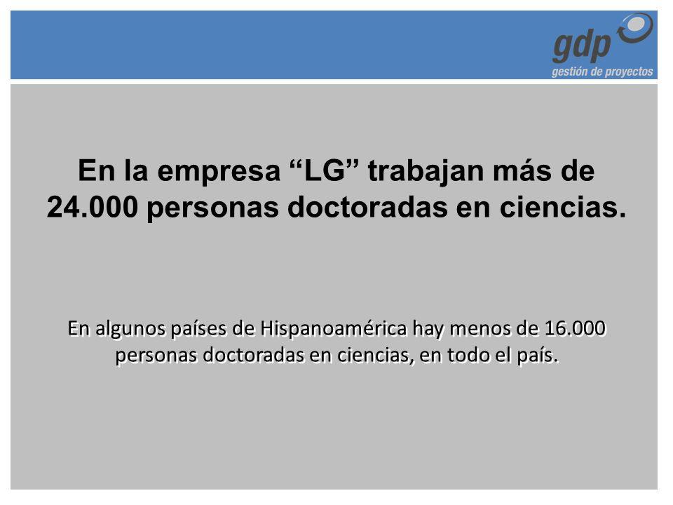 En la empresa LG trabajan más de 24.000 personas doctoradas en ciencias. En algunos países de Hispanoamérica hay menos de 16.000 personas doctoradas e