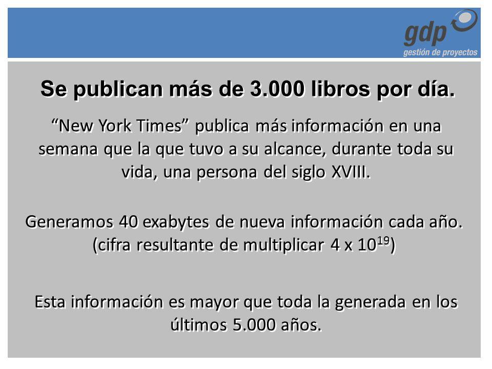 Se publican más de 3.000 libros por día. New York Times publica más información en una semana que la que tuvo a su alcance, durante toda su vida, una