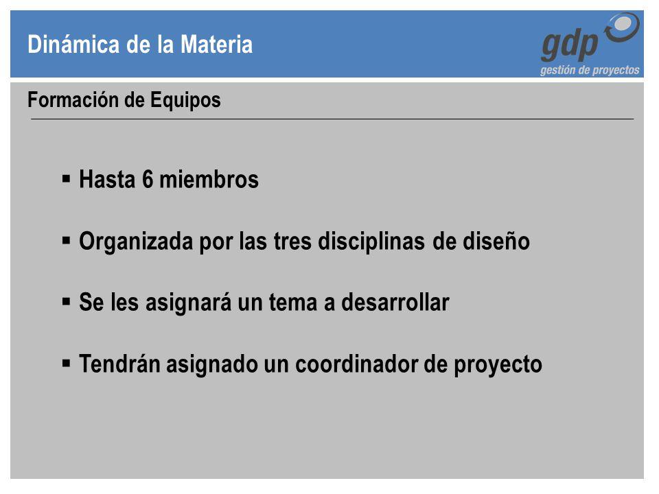 Dinámica de la Materia Formación de Equipos Hasta 6 miembros Organizada por las tres disciplinas de diseño Se les asignará un tema a desarrollar Tendr